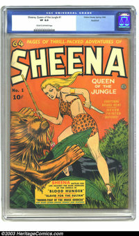 Sheena, Queen of the Jungle #1 Rockford pedigree (Fiction House, 1942) CGC VF 8.0 Cream to off-white pages. With story t...