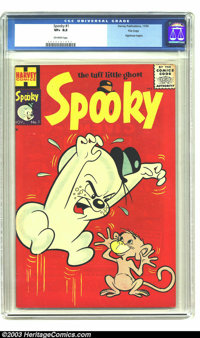 Spooky #1 File Copy (Harvey, 1955) CGC VF+ 8.5 Off-white pages. This heart-stopping red cover of the premiere issue star...