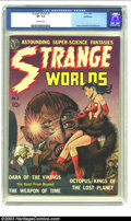 Golden Age (1938-1955):Science Fiction, Strange Worlds #2 Bethlehem pedigree (Avon, 1951) CGC VF- 7.5Off-white pages. Avon gave away its pulp heritage with great c...