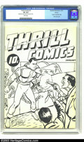 Golden Age (1938-1955):Superhero, Thrill Comics #1 Ashcan Edition (Fawcett, 1940) CGC VF 8.0 White pages. The most fascinating of the ashcan books, Thrill C...