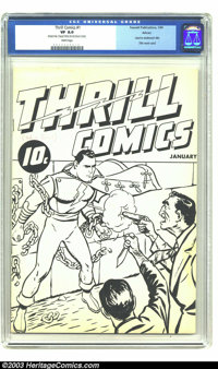 Thrill Comics #1 Ashcan Edition (Fawcett, 1940) CGC VF 8.0 White pages. The most fascinating of the ashcan books, Thrill...