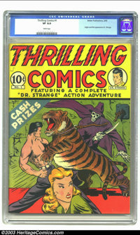 Thrilling Comics #1 (Better Publications, 1940) CGC VF 8.0 White pages. Only three months after Best Comics #1 became Be...