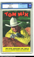 Golden Age (1938-1955):Western, Tom Mix Western #1 (Fawcett, 1948) CGC VF 8.0 Off-white to whitepages. A painted photo cover of the gun-slinger starts the ...