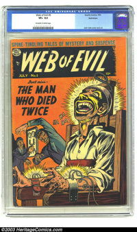 Web of Evil #5 Bethlehem pedigree (Quality, 1953) CGC VF+ 8.5 Off-white to white pages. While Jack Cole may be most famo...