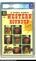 Silver Age (1956-1969):Western, Western Roundup #15 File Copy (Dell, 1956) CGC NM+ 9.6 Off-white towhite pages. The sun shines down on the portraits of the...