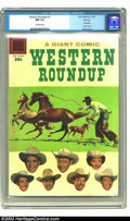 Silver Age (1956-1969):Western, Western Roundup #17 File Copy (Dell, 1957) CGC NM 9.4 Off-white pages. Not only does this issue feature a nice horse-roping ...