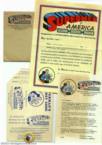 Supermen of America Kit (DC, 1950). This Supermen of America membership kit includes the envelope (with the logo neatly...