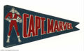 Memorabilia:Superhero, Captain Marvel Felt Pennant (Fawcett, 1946). This particularpennant is one of the nicest examples of this Captain Marvel bl...