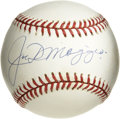 Autographs:Baseballs, Joe DiMaggio Single Signed Baseball. Stunning example of the YankeeClipper's autograph resides on the sweet spot of the cle...
