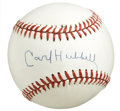 Autographs:Baseballs, Carl Hubbell Single Signed Baseball. The Hall of Fame pitcher forthe New York Giants applied his 10/10 blue ink signature ...