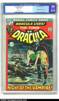 Bronze Age (1970-1979):Horror, Tomb of Dracula #1 (Marvel, 1972) CGC NM- 9.2 Off-white pages.Dracula lives! At least, that's what the cover of this fine B...