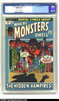 Bronze Age (1970-1979):Horror, Where Monsters Dwell #17 (Marvel, 1972) CGC NM/MT 9.8 off-white towhite pages. Gil Kane draws a new cover to this issue whi...