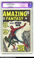 Silver Age (1956-1969):Superhero, Amazing Fantasy #15 (Marvel, 1962) CGC Apparent NM+ 9.6 Slight (P)Off-white pages. You already know that this Marvel milest...