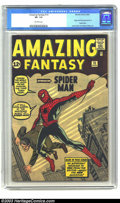 Silver Age (1956-1969):Superhero, Amazing Fantasy #15 (Marvel, 1962) CGC VF- 7.5 Off-white pages. For many fans of Silver Age Marvel, it all begins here. Sure...