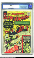Silver Age (1956-1969):Superhero, Amazing Spider-Man #14 (Marvel, 1964) CGC NM- 9.2 Off-white towhite pages. This Silver Age classic has great artwork by Ste...