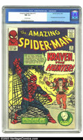 Silver Age (1956-1969):Superhero, Amazing Spider-Man #15 (Marvel, 1964) CGC NM 9.4 Off-white pages.This high-grade beauty gives us the first appearance of Kr...