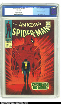 Amazing Spider-Man #50 (Marvel, 1967) CGC NM- 9.2 Off-white to white pages. This is the classic John Romita Sr. cover wh...