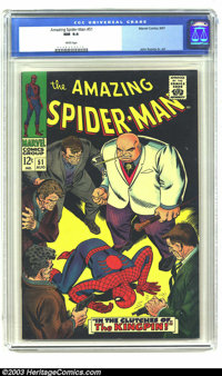 Amazing Spider-Man #51 (Marvel, 1967) CGC NM 9.4 White pages. This issue, with an intense cover by John Romita Sr., is n...