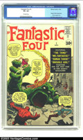 Silver Age (1956-1969):Superhero, Fantastic Four #1 (Marvel, 1961) CGC VF+ 8.5 Off-white pages. Tiedwith The Amazing Spider-Man #1 for third place among ...