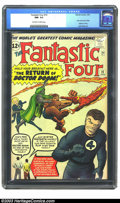Silver Age (1956-1969):Superhero, Fantastic Four #10 (Marvel, 1963) CGC NM- 9.2 Off-white to white pages. Jack Kirby is quoted on the cover of this issue as s...