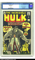 """Silver Age (1956-1969):Superhero, The Incredible Hulk #1 (Marvel, 1962) CGC FN+ 6.5 White pages. Jack""""King"""" Kirby brings to life the most sad of all creature..."""