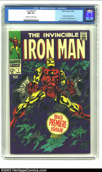 Iron Man #1 (Marvel, 1968) CGC NM 9.4 Off-white to white pages. Gene Colan does one his most memorable covers for the pr...