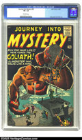 Silver Age (1956-1969):Horror, Journey Into Mystery #63 (Marvel, 1960) CGC VF- 7.5 Off-whitepages. Back in the days when Marvel was still known as Atlas, ...