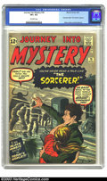 "Silver Age (1956-1969):Horror, Journey into Mystery #78 (Marvel, 1962) CGC VF+ 8.5 Off-whitepages. The Sorcerer makes an appearance in this issue. So ""wha..."