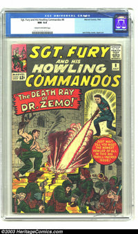 Sgt. Fury and His Howling Commandos #8 (Marvel, 1964) CGC NM 9.4 Cream to off-white pages. Jack Kirby brings us this cov...