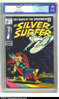 The Silver Surfer #4 (Marvel, 1969) CGC NM 9.4 Off-white to white pages. John Buscema brings us this awesome Thor and Si...