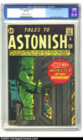 Silver Age (1956-1969):Horror, Tales to Astonish #34 (Marvel, 1962) CGC VF 8.0 Off-white to whitepages. Jack Kirby draws a giant green monster outside of ...