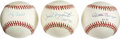 Autographs:Baseballs, New York Yankee Greats Single Signed Baseballs Lot of 3. Each of the three official orbs that we make available here acts a...