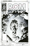 Original Comic Art:Covers, Ian Akin and Brian Garvey - Original Cover Art for Rom #48 (Marvel,1983). A dejected Rom walks into the sunset as the Dire ...