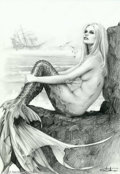 """Original Comic Art:Sketches, Arantza - Original Illustration, """"Sunbathing"""" (undated). What sailor could resist this sultry siren as she suns herself by t..."""