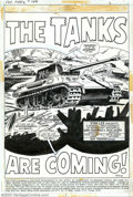 "Original Comic Art:Splash Pages, Dick Ayers - Original Art for Sgt. Fury #104, page 1 (Marvel,1972). If you love tanks, this is the page for you! ""Darlin'"" ..."