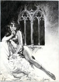 Original Comic Art:Sketches, Enrich - Original Preliminary Cover Art for Vampirella #91 (1980). This tonal pencil masterwork is a tight, finished portrai...