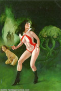 Original Comic Art:Covers, Enric - Original Cover Art for Vampirella #105 (Warren, 1982). Abeautiful girl on one side, a green tentacular blob on the ...