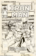 "Original Comic Art:Covers, Bob Layton - Original Cover Art for Iron Man #202 (Marvel, 1986).""Give me your armor or the jungle boy dies!"" From the late..."