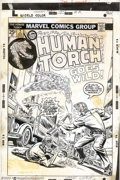 Original Comic Art:Covers, Larry Lieber and Joe Sinnott - Original Cover Art for The HumanTorch #2 (Marvel, 1974). The Torch goes wild in a blistering...