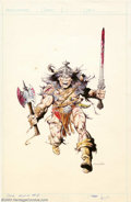 Original Comic Art:Sketches, Val Mayerik - Original Illustration for Conan Annual #8 (Marvel, 1983). Val Mayerik gives us Conan in full barbarian mode. T...
