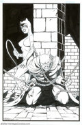 Original Comic Art:Sketches, Shawn McManus - Original Illustration of Batman and Catwoman (2002). Batman in bondage, with a coy Catwoman looking on, is t...