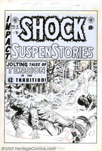 """Wally Wood - Original Cover Art for Shock SuspenStories #3 (EC, 1952). A """"Jolting Tale of Tension"""" as Man face..."""