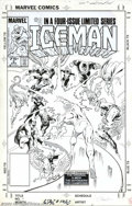 Original Comic Art:Covers, Mike Zeck and John Beatty - Original Cover Art for Iceman #3(Marvel, 1985). It's Iceman vs. the X-Men, the Defenders, and t...