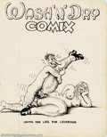 """Original Comic Art:Sketches, Robert Crumb - Original Sketches, """"Wash and Dry Comix"""" (undated). Using a very Disney-esque still lettering for this sketch,..."""