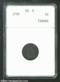 Early Half Dimes: , 1795 H10C VG8 ANACS. V-5, LM-8, R.3. Natural steel-gray ...