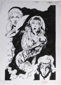 Original Comic Art:Covers, Neil Vokes - Scream Queens #2 Cover Original Art, Signed by IngridPitt (1993)....