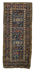 Rugs & Textiles:Carpets, An Antique Kazak Rug. Caucasus. Circa 1870. Wool. Beautiful skyblue background....