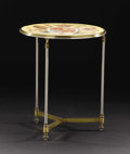 Furniture : Continental, A Continental Glazed Ceramic and Metal Table. Unknown maker,Continental. Twentieth century. Glazed ceramic, steel and bra...