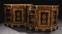 A Pair of Inlaid English Victorian Console Vitrines  Unknown maker, English Circa 1870 Various woods, bronze mounts Unm...