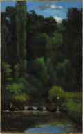 Fine Art - Painting, European:Antique  (Pre 1900), GUSTAVE COURBET (French 1819-1877). Stream In The Forest,circa 1863. Oil on canvas. 26-½ x 18-½ inches (66 x 41 cm). Si...